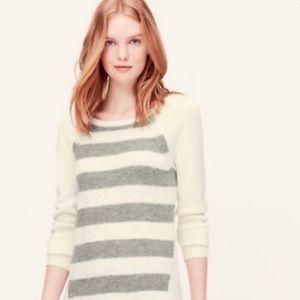 LOFT Petites Cream & Gray Stripe Tunic Sweater MP